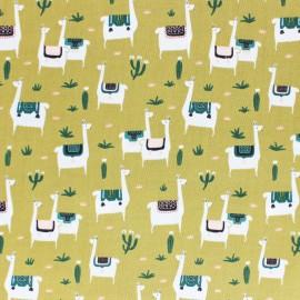 Tissu coton Cloud 9 - Llama life - vert foncé x 10 cm