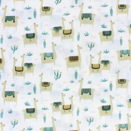 Tissu coton Cloud 9 - Llama life -  écru x 10 cm