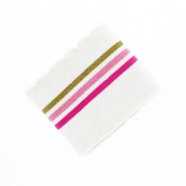 Organic Wave Edging Fabric (140x8cm) - Off White/Pink