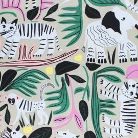 Cloud 9 cotton fabric - beige Jungle forest x 10 cm
