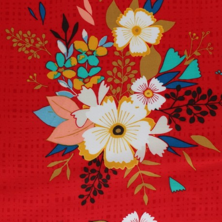 AGF fabric Sonata - red Summerdress dreams Flare x 10 cm
