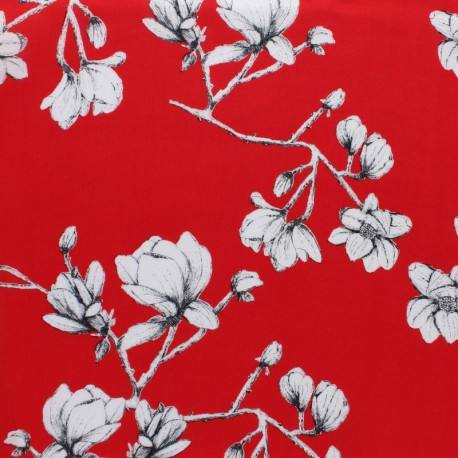 AGF Rayon fabric - red Magnolia study x 10 cm