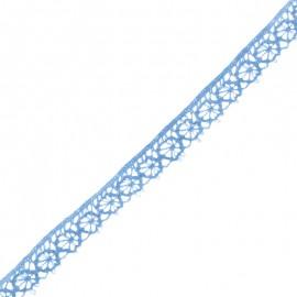 Ruban Dentelle Amélie 15 mm - Bleu Céruléen x 1m