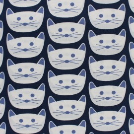 Tissu coton AGF Cat Nap District - bleu marine x 10cm