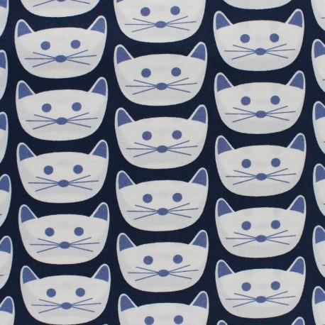 Tissu coton AGF Cat Nap District - bleu marine x 10cm