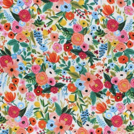 Cotton Steel Rayon fabric Rifle Paper co. - Cream Petite garden x 10cm