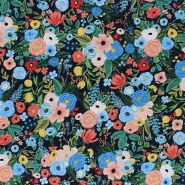Cotton Steel Rayon fabric Rifle Paper co. - Navy Petite garden x 10cm