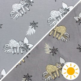 ♥ Coupon 150 cm X 145 cm ♥  Color Changing jersey fabric - grey Sloth