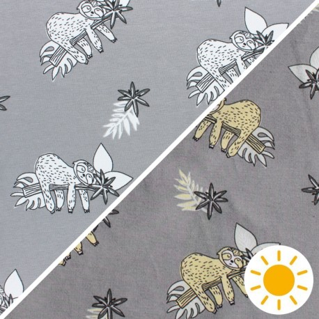 Color Changing jersey fabric - White Sloth x 10cm