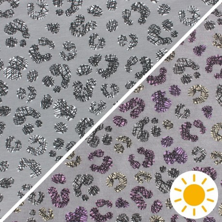 Color Changing jersey fabric - grey Cheetah