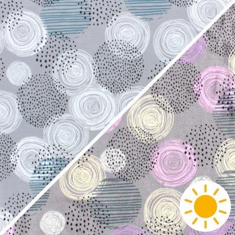 Color Changing jersey fabric - grey Circle x 10cm