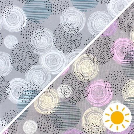 Tissu Jersey Photosensible Circle - gris x 10cm