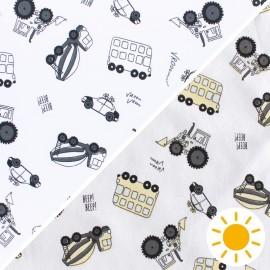 Tissu Jersey Photosensible Vroom-Vroom - blanc x 10cm