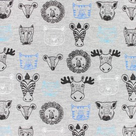 Stenzo Jersey cotton fabric - Blue Animals x 10cm