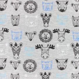Tissu coton jersey Stenzo Animals - bleu x 10cm