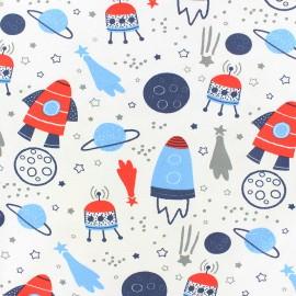 Tissu coton jersey Stenzo Blue Space - blanc x 10cm