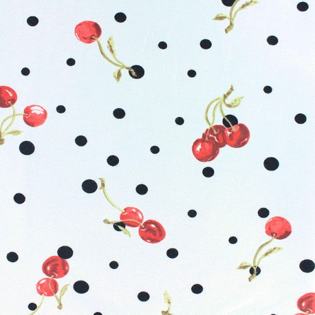Stenzo Jersey cotton fabric - white Cherry & dot x 10cm