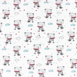 Cotton Jersey fabric - white Mattéo aime le vélo x 10cm