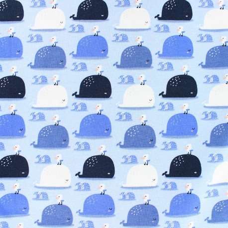 Cotton Jersey fabric - light blue Sereine Baleine x 10cm