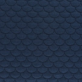 Tissu jersey matelassé écailles Aquarius - bleu marine x10cm