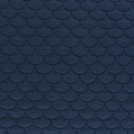 Scale Quilted jersey fabric- navy blue Aquarius x 10cm