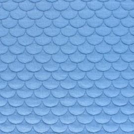 Tissu jersey matelassé écailles Aquarius - bleu ciel x10cm