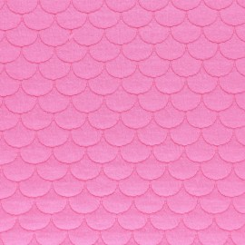 Scale Quilted jersey fabric- pink Aquarius x 10cm