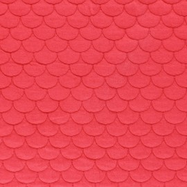 Tissu jersey matelassé écailles Aquarius - rouge x10cm