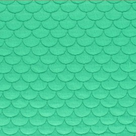 Scale Quilted jersey fabric- green Aquarius x 10cm