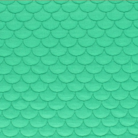 Scale Quilted jersey fabric- red Aquarius x 10cm