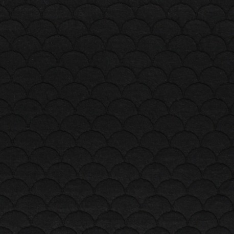 Scale Quilted jersey fabric - black Aquarius x 10cm