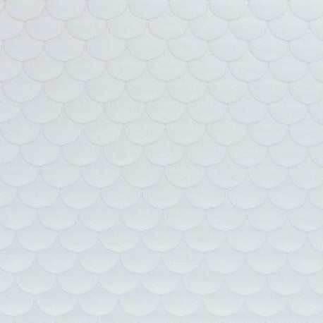 Scale Quilted jersey fabric - off-white Aquarius x 10cm