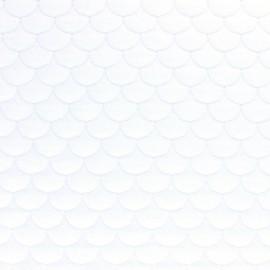 Tissu jersey matelassé écailles Aquarius - blanc x10cm