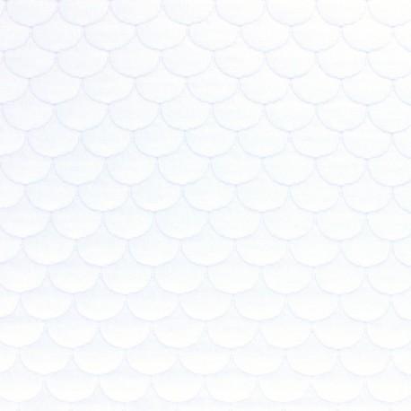 Scale Quilted jersey fabric - white Aquarius x 10cm