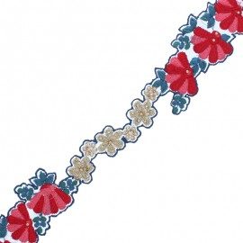 46 mm Embroidered Indian Trim - Blue Fan x 50cm