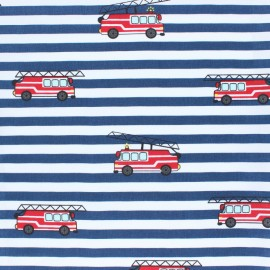 Striped Cotton Poplin fabric - blue Fire Truck x 10cm
