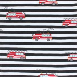 Tissu Popeline rayé Camion de Pompiers - noir x 10cm