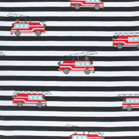 Striped Cotton Poplin fabric - black Fire Truck x 10cm