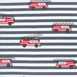 Striped Cotton Poplin fabric - grey Fire Truck x 10cm