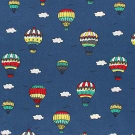 Tissu Popeline Voyage en ballon - bleu marine x 10cm