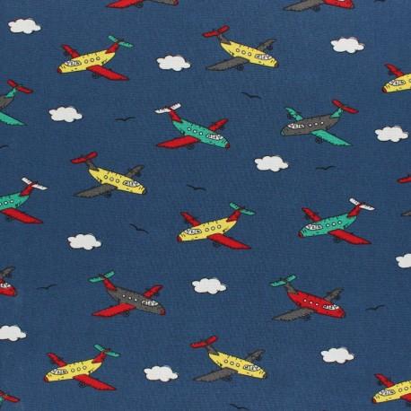 Cotton Poplin fabric - Navy blue Air balloon Travel x 10cm