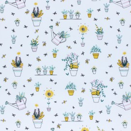 Cotton Poplin fabric - white Spring Gardening x 10cm
