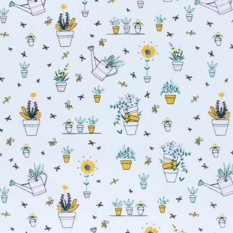 Cotton Poplin fabric - white Spring Gardening x 10cm