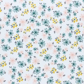 Cotton Poplin fabric - white Spring Garden x 10cm