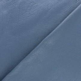 Simili cuir frappé vintage - bleuet métallisé x 10cm