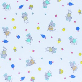Cotton Jersey fabric - white Mimi & friends x 10cm