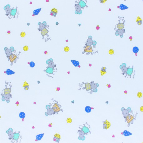 Cotton Jersey fabric - white Mimi & friends x 10cm