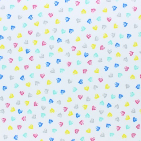 Cotton Jersey fabric - white Mimi heart x 10cm