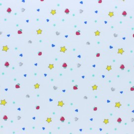 Cotton Jersey fabric - white Mimi star x 10cm