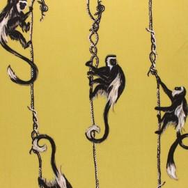 Twill viscose fabric - pink monkey x 10 cm